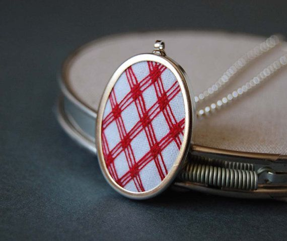 Embroidered Pendant Necklace Red Plaid on White Linen