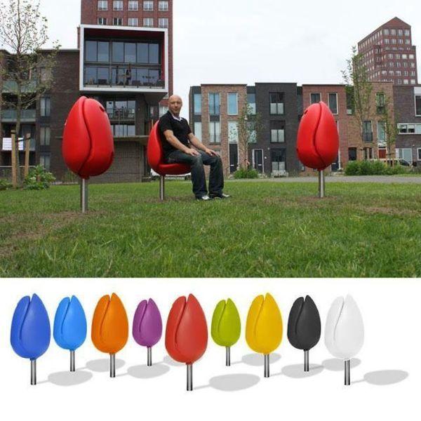 mobilier urbain, les bancs tulipes