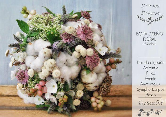 12 meses 12 ramos: Septiembre. Ramo de Bora Diseño Floral. Flor de Algodón, Astrantia, Phlox, Menta, Ammi Majus, Sumphoricarpos y Botao.