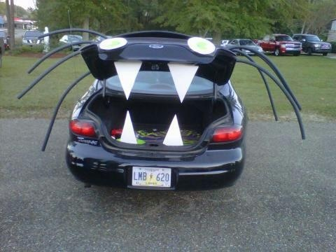 Cute idea for Trunk or Treat. 8 pipe insulators, 99 cents a piece. White poster board for the eyes and fangs and stick some sort of light in the trunk and you giving out candy. The kiddos really loved it.
