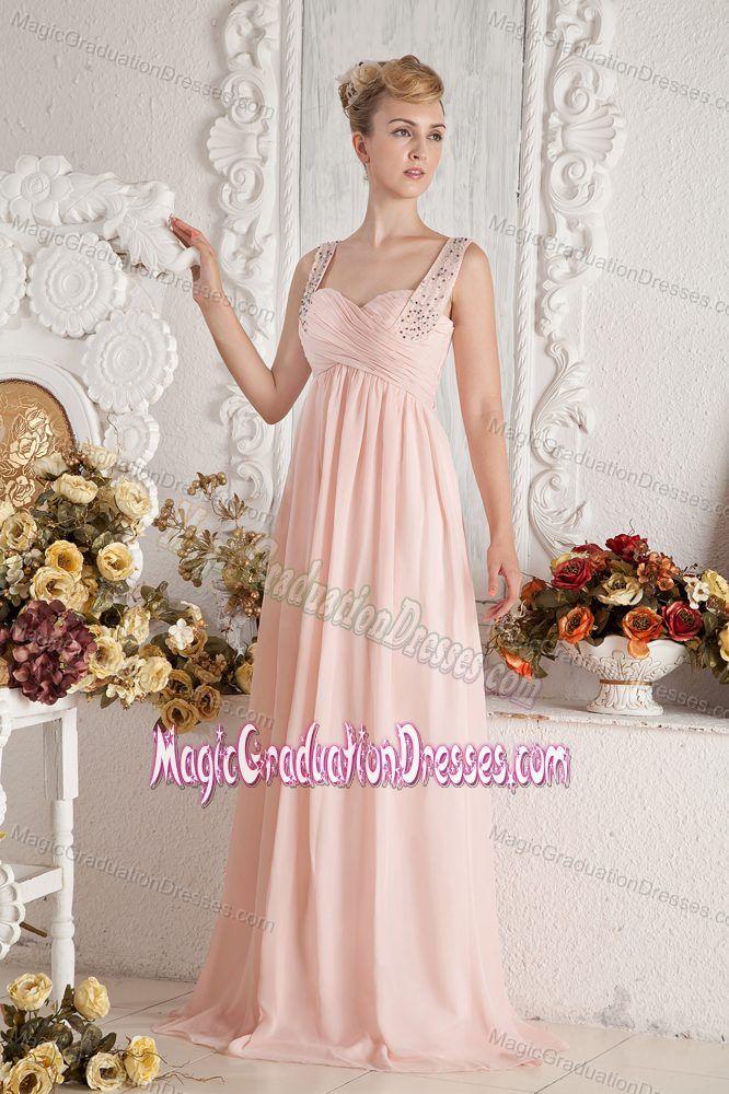Peach Colored Beading Straps 5th Grade Graduation Dresses