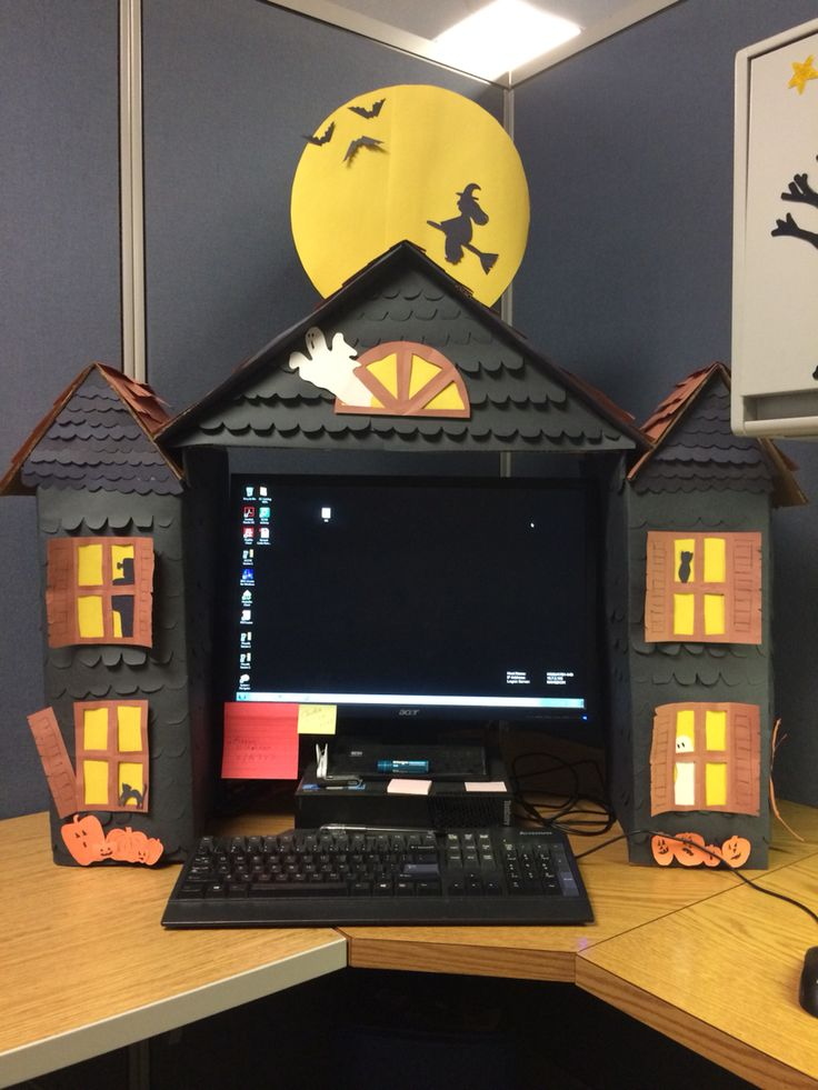 Haunted House to fit around your office computer. Made entirely from cardboard, construction paper, and tape.