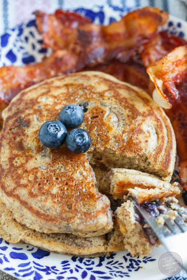 3. Blueberry Peanut Butter Pancakes #Greatist https://greatist.com/health/healthy-meals-for-two