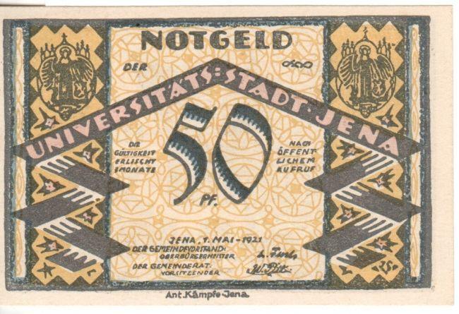 1921 Stadt Jena 50 pfennig - notgeld