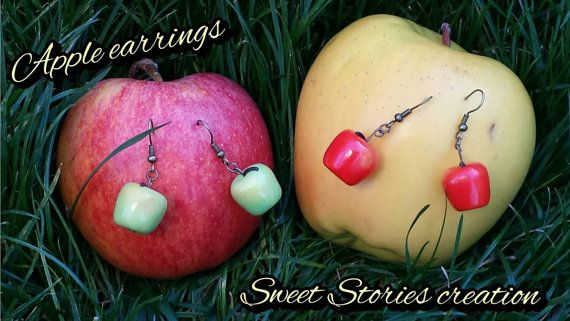Apple earrings, miniature food earrings, polymer clay jewelry