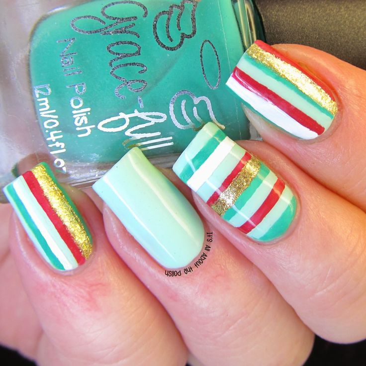 Concrete And Nail Polish Striped Nail Art: Nail Art Stripes, Nails, Polish
