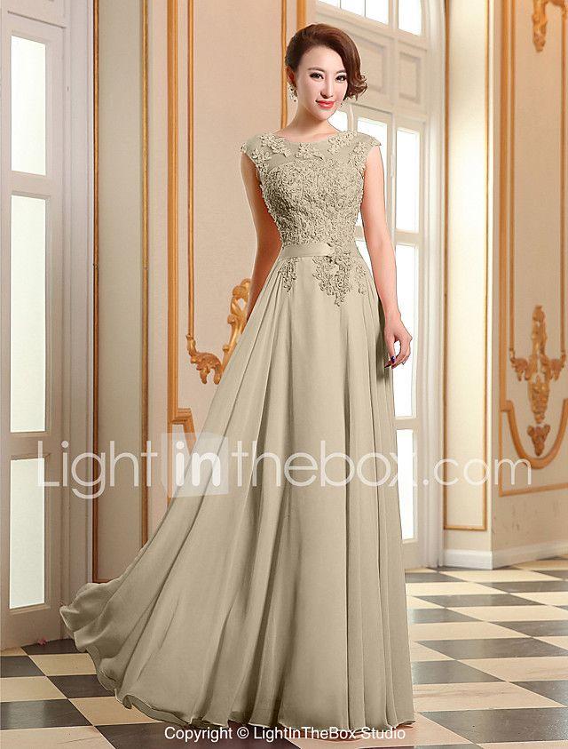 Vestido formal de fiesta de baile - encaje de una línea joya georgette piso de longitud con apliques perlas de detalle de perlas 2017 - $1480.61
