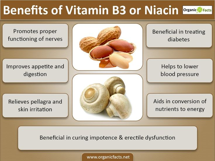 Health benefits of niacin include maintaining good blood circulation, healthy robust skin condition, and normal functioning of brain, boosting memory power, aiding the digestive tract to absorb sufficient carbohydrates, proteins, and fats, relaxing effect on arthritis condition and also reducing schizophrenia state. The most important benefits of niacin or vitamin B3 is lowering high cholesterol levels and controlling it.