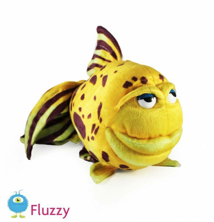 Grappige vis, geel met bruin. 32 cm groot, € 13,95 http://www.fluzzy.nl/grappige-vis.html