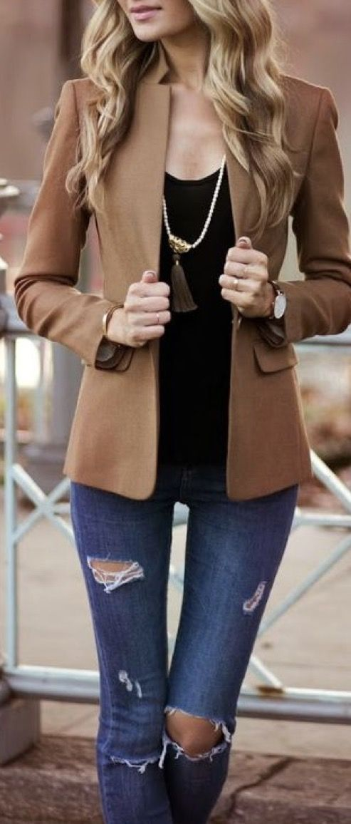 2017 Stitch Fix Fashion. Camel blazer, distressed denim, long necklace with fringe pendant and black tee. #Stitchfix #Sponsored