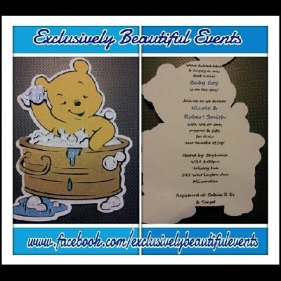 winnie the pooh glittery 3d baby shower invitations for a boy to