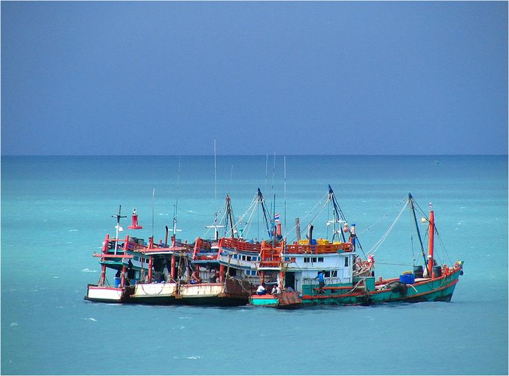 https://flic.kr/p/wCuRW | Waiting for the storm.... | Colorful fishingboats in a blue ocean awaiting a storm in the distance (between Koh Pahngan and Surat Thani, Thailand)