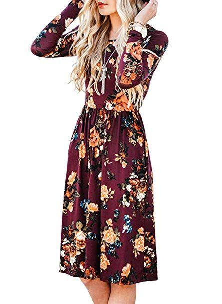e69d9f49d35d ZESICA Women s Long Sleeve Floral Pockets Casual Swing Pleated T-shirt Dress