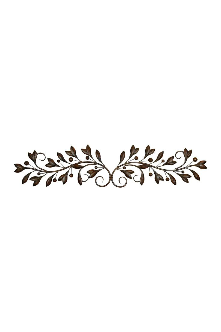 """Metal Wall Decor by UMA Details: An updated traditional wall sculpture featuring brown hue metal leaves with berries on iron scroll branches. - Ready to hang - 48"""" W x 2"""" D x 9"""" H - Imported  Please note your order will be shipped directly from the brand. Orders cannot be shipped to Australia, Canada, Alaska, Hawaii, Puerto Rico or P.O. Boxes. Materials: Iron $55.00 I would spray paint this white or rose gold."""