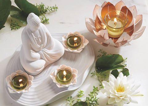 """Prenez le """"THYM"""" de relaxer un peu et trouver votre paix intérieur  Porte bougie MÉDITATION(Bouddha) P91760  Porte lampion Lotus doré P91854  bougie a réchaud et lampion a la fragrance THYM ZEN V04576 V06576 www.partylite.biz/marcelrobidoux"""