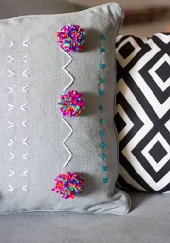 Yarn Embroidered Pom-Pom Pillows by Haeley Giambalvo