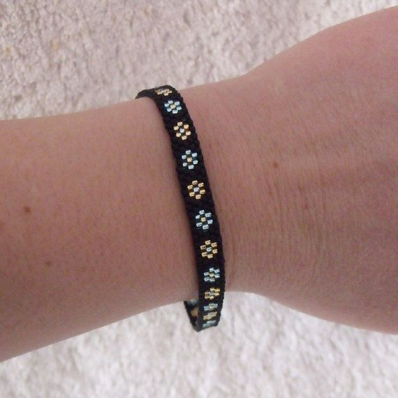 Black Seed Bead Bracelet with Gold and Blue Flowers by KweenBee, $12.00 Etsy