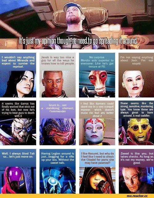 "Mass Effect,фэндомы,Jeff ""Joker"" Moreau,ME персонажи,ME Other,Miranda Lawson,Jacob Taylor,Mordin,Jack,Garrus,Grunt,Samara,Thane,Tali,Kasumi Goto,Zaeed"