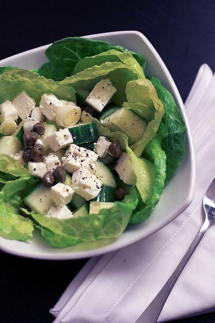 Feta Cucumber & Capers  Feta cheese 100gr  A handful of Capers  Raw Cucumber 100gr  2 gems lettuce heads  2 spring onions    Dressing: Extra virgin olive oil, balsamic vinegar, Salt and pepper