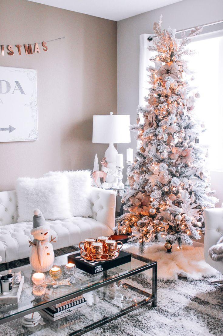 Blush pink rose gold white christmas decor christmas - Blush pink christmas decorations ...