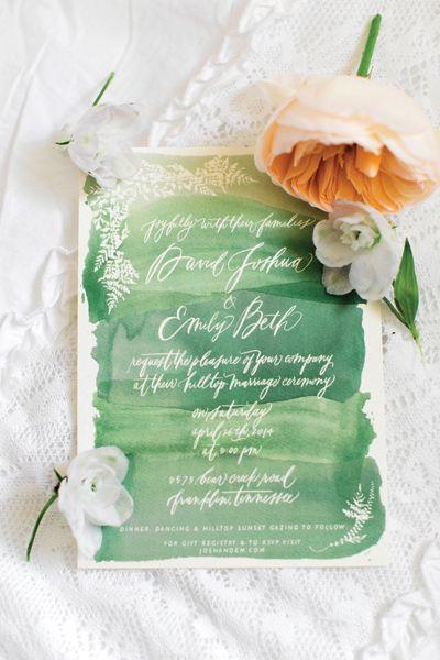 green watercolor invitation | Amanda K