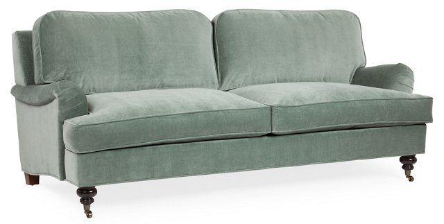"Bradley 85"" Velvet Sofa, Sage"