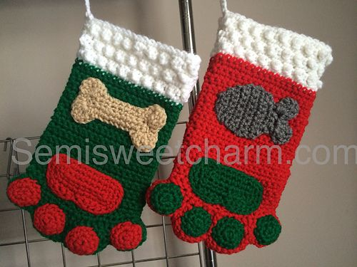Ravelry: Paw Print Stocking for Christmas Dog Cat Pet pattern by Semi Sweet Charm