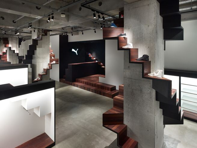 The interior design for the new Puma House Tokyo, located in the city's Aoyama design district. Puma House Tokyo combines the brand's press room and event space into one space for the first time. Puma House Tokyo is a multipurpose space that can be used for exhibitions, events, fittings, product launches and other media events. it is also available for rentals.