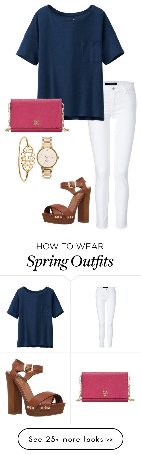 """""""last of spring outfits"""" by sarinaalily on Polyvore featuring J Brand, Uniqlo, Tory Burch, Kate Spade and Miss KG"""