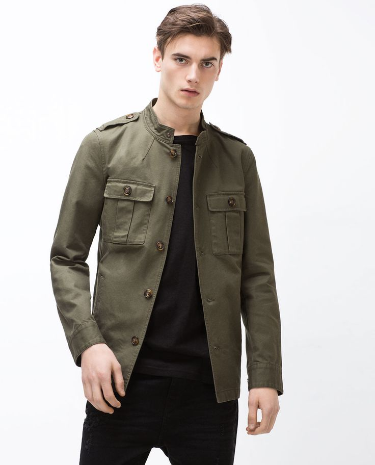 Image 2 of MANDARIN COLLAR SAFARI JACKET from Zara