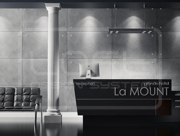 Loft Concrete grande hotel La MOUNT recepcja. Kliknij zdjęcie by uzyskać więcej informacji lub aby przejść na naszą stronę internetową.