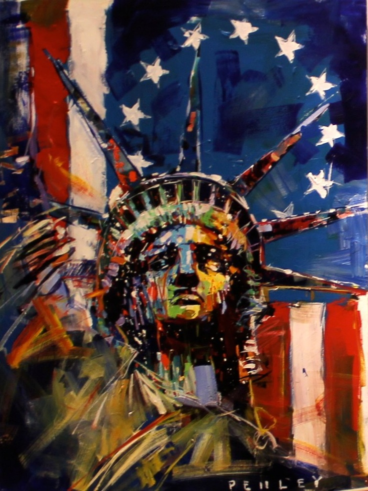 you can see all the brush stokes that steve penley used on the statue of liberty, he makes it look like it is almost crying different colors and represents America with the flag in the back ground.