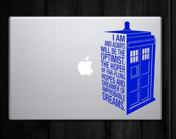 Laptop sized: Dr Who's Tardis Sticker Quote - Police Call Box Quote Decal - laptop sticker