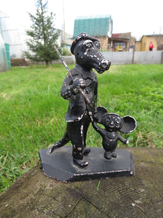 "Soviet metall figurine ""Сrocodile Gena & Cheburashka"". Silumin figurine. USSR. 1970s."