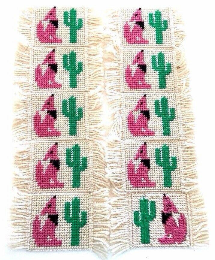 Needlepoint Coasters Southwest Saguaro Cactus Howling Lonely Coyote Set Of 10 Handmade Needlepoint Needlepoint Patterns Pattern Books
