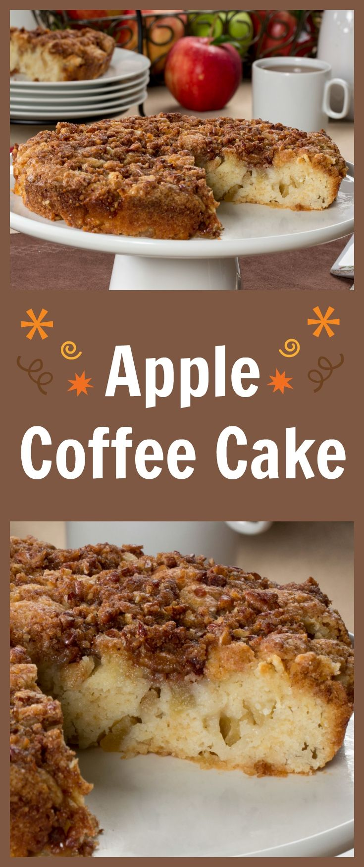 Celebrate apple season with a homestyle Apple Coffee Cake that simply shouts comfort. Imagine taking this coffee cake warm out of the oven, and serving it with a scoop of ice cream, or enjoying it as a morning treat. Talk about the perfect autumn recipe!