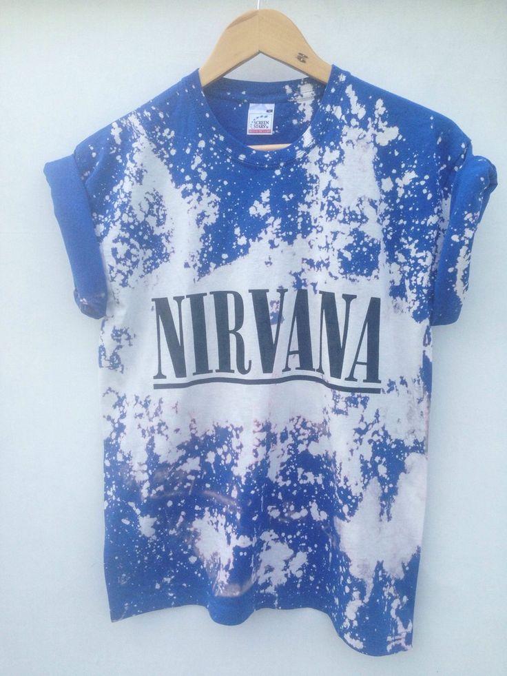 Image of Blue Tie Dye Acid Wash Nirvana Shirt - M