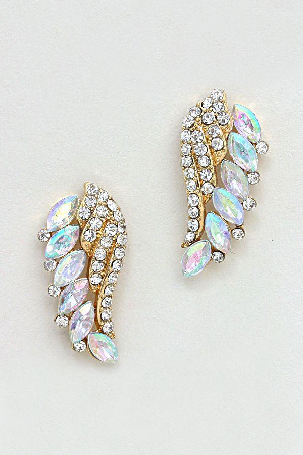 Crystal wings earrings