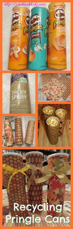 Reusing Pringle cans to use as gifts.