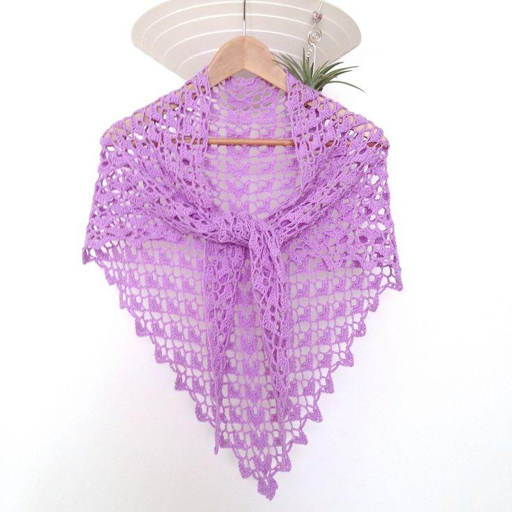 Grand châle dentelle en 100% coton, couleur lilas, crocheté mains : Echarpe…