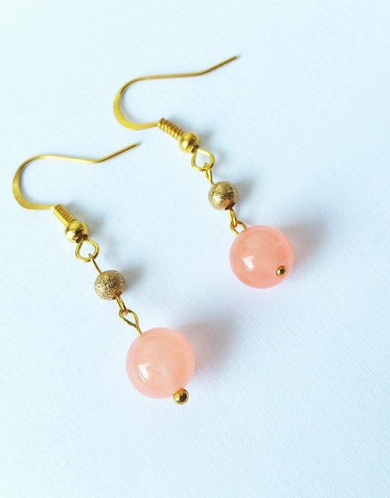 Gold earringsJade earringsSalmon pink earringsLovely by CatiShop