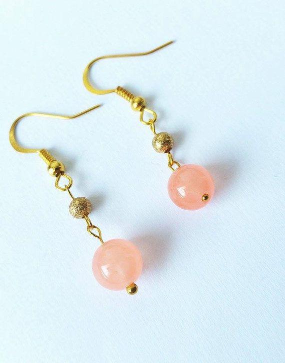 Gold earringsJade earringsSalmon pink earringsLovely by CatiShop