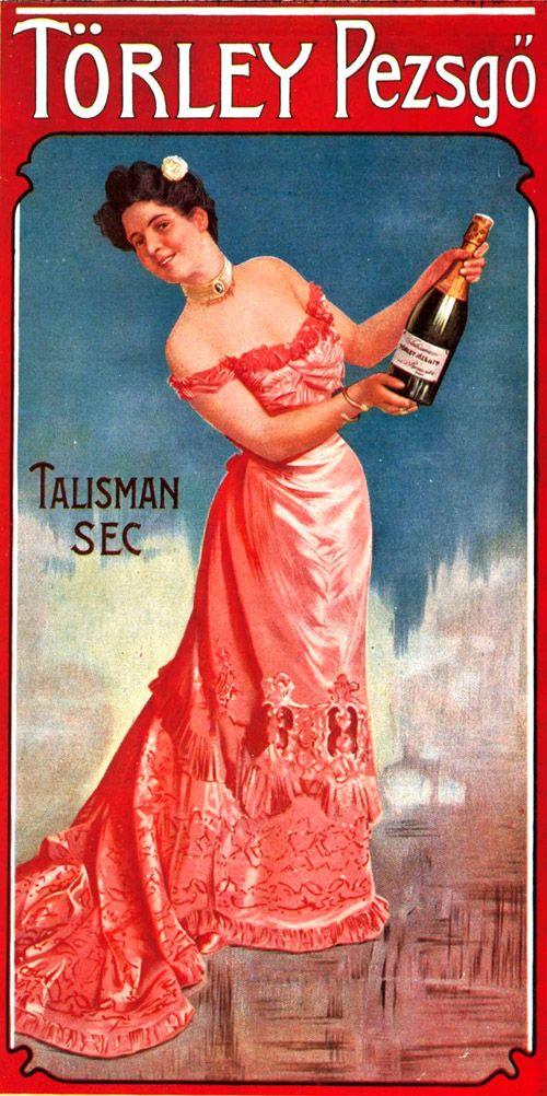 hungarian Törley champagne vintage poster