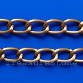 Chain, aluminum, copper, 9x14mm curb
