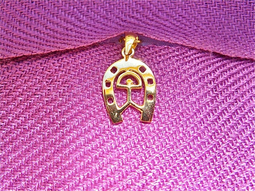 Gold horseshoe Indalo - Solid gold Horseshoe charm pendant - also featuring the Indalo charm of Almería, Spain, for added good luck