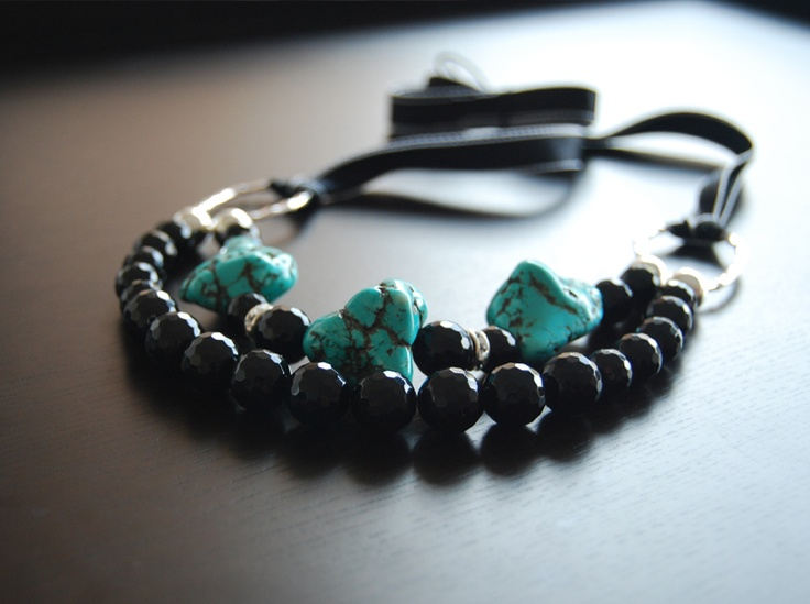 love this bold beauty! Turquoise and black agate with a touch of swarovski crystal