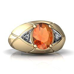 Mens Rings - 14kt Gold Fire Opal and Diamond 8x6mm Oval Men's Ring / Mens Jewelry  Site: Project Fellowship