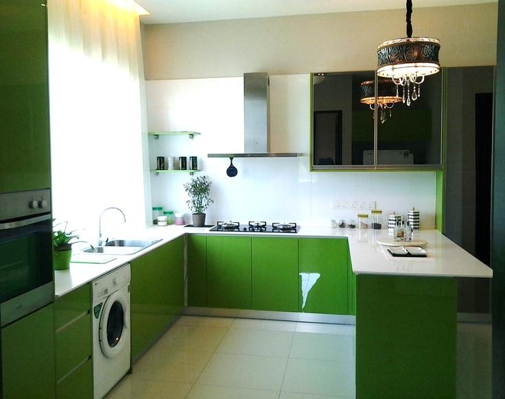 Cuisine en Solid Surface vert (Hi-Macs)
