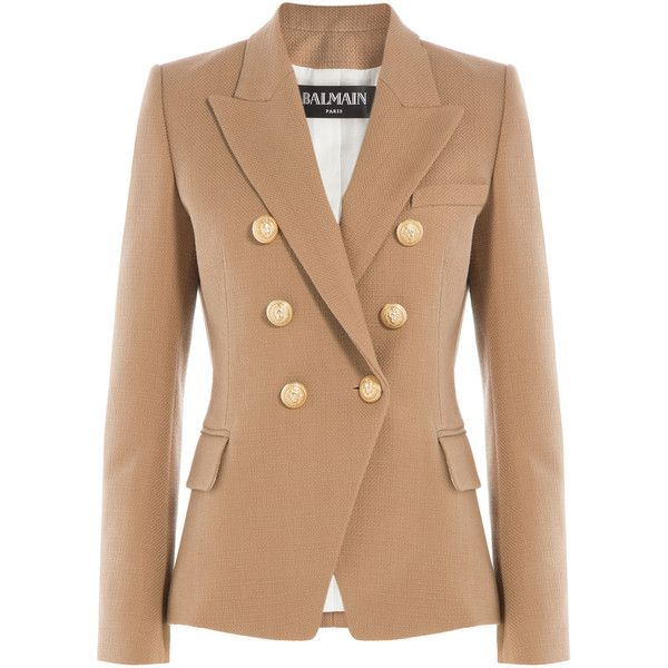 Balmain Cotton Blazer ($2,425) ❤ liked on Polyvore featuring outerwear, jackets, blazers, white, white blazer, balmain blazer, balmain jacket, white jacket and cotton blazer