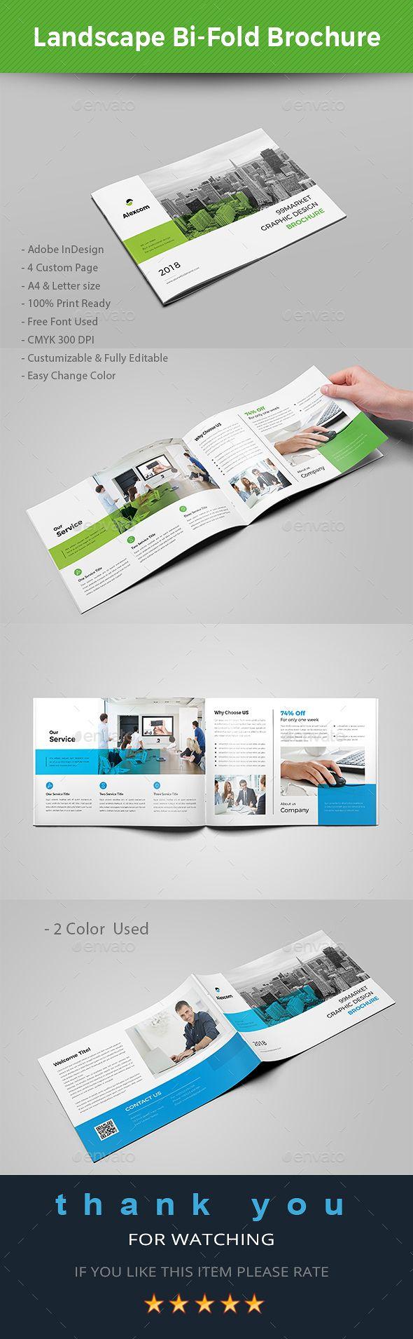 Landscape Bi-fold Brochure Template InDesign INDD - A4 & US Letter Size